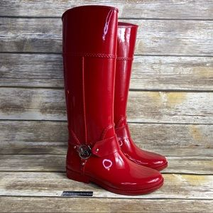 LIKE NEW Michael Kors Red Rubber Rain Boots Size 6